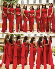 New Red One Shoulder Side Slit Satin Mermaid Bridesmaid Dresses Sexy Wedding Party Gown