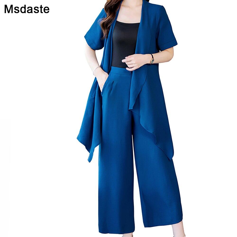 Femmes ensemble 2 pièces Kimono Cardigan Long manteau et pantalon jambe large costumes 2019 femme mode élégant Cardigans et pantalons deux pièces