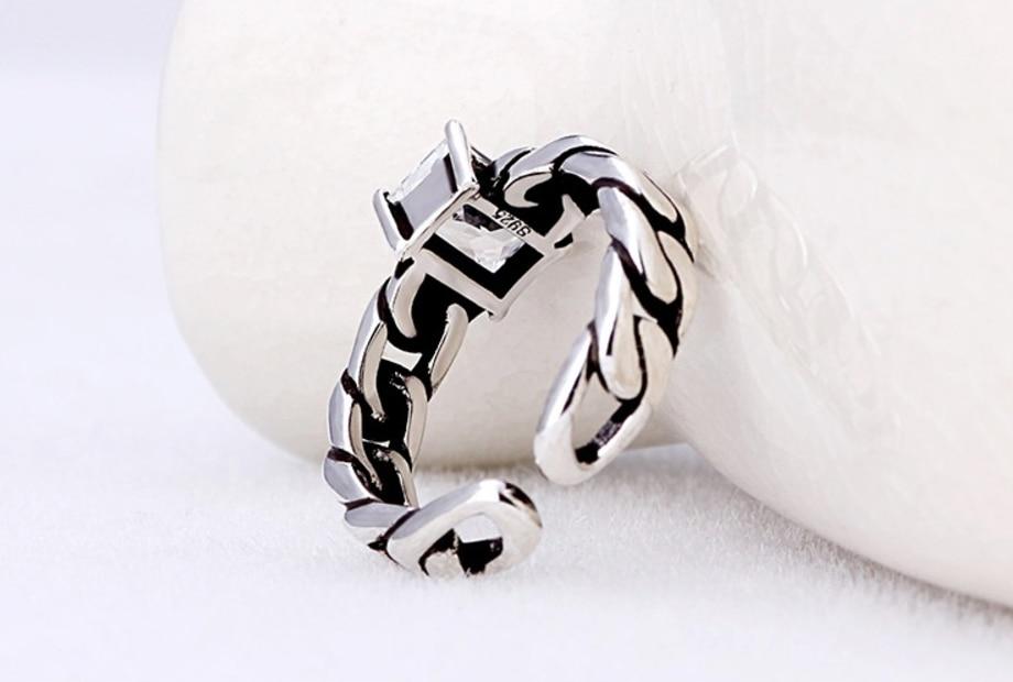 בציר טריקולור 925 סטרלינג כסף זירקון פתיחת טבעות Twisted שרשרת מודלים שחור מקדחת תאילנדי כסף טבעת עבור נשים S-R60