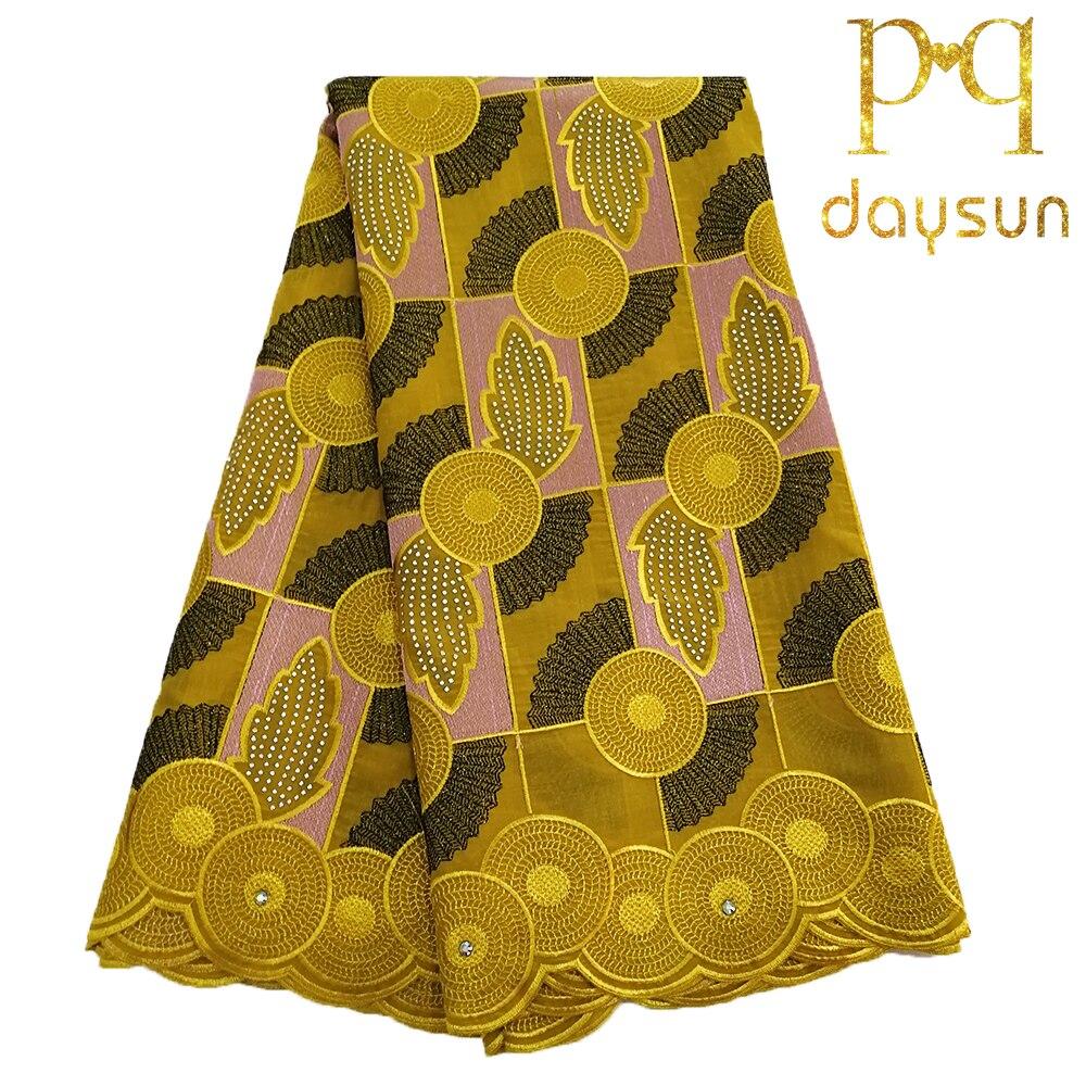 Ev ve Bahçe'ten Dantel'de Afrika İsviçre kumaşı Dantel Kumaş 5 yards Gipür Dantel Pamuk Fransız Işlemeli Örgü Dantel Kumaş altın Rengi Afrika Düğün için'da  Grup 1