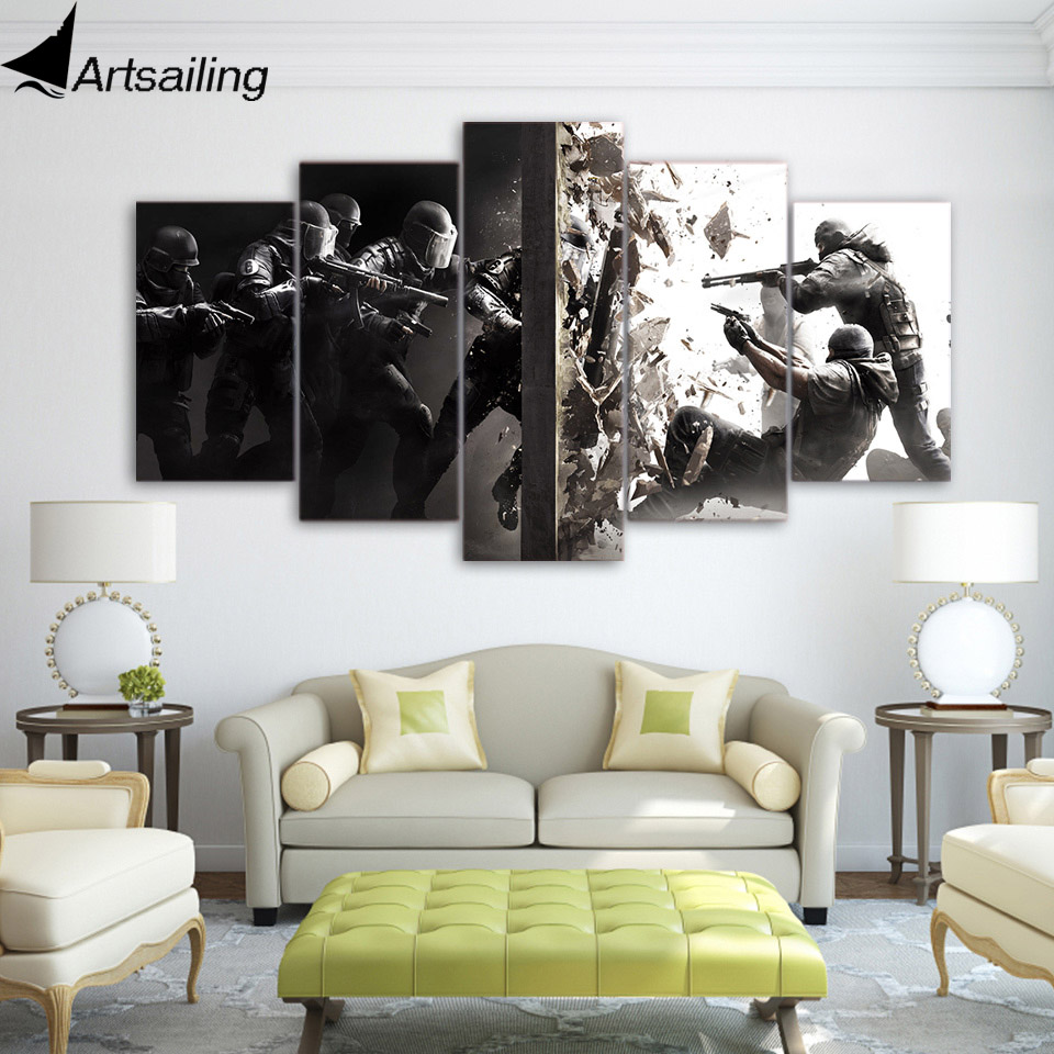ArtSailing HD Printed 5 Pieces Canvas Art Painting fighting Poster War Siege Wall Pictures for Living Room Decor up-2199B