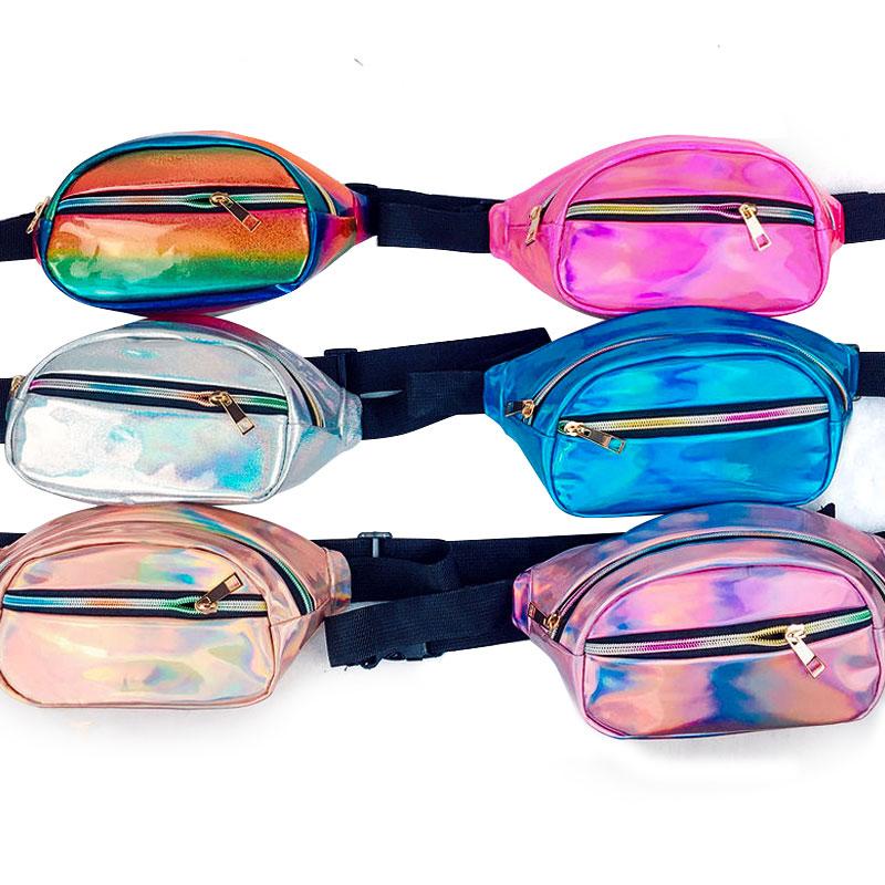Hot Sale Holographic Funny Pack Laser Bum Bag Women's Belt Waist Bag Hologram Purse Fashion Waist Pack