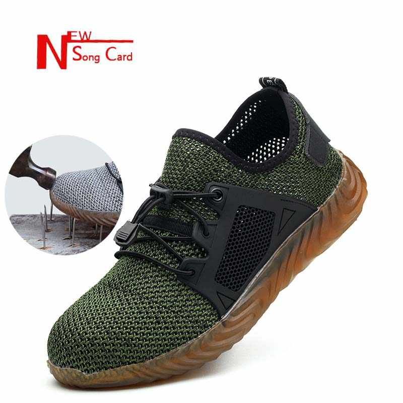 New song card Men's Breathable safety Shoes Outdoor Indestructible Anti-smashing Steel Toe Lightweight Sneaker Ryder Work Shoes