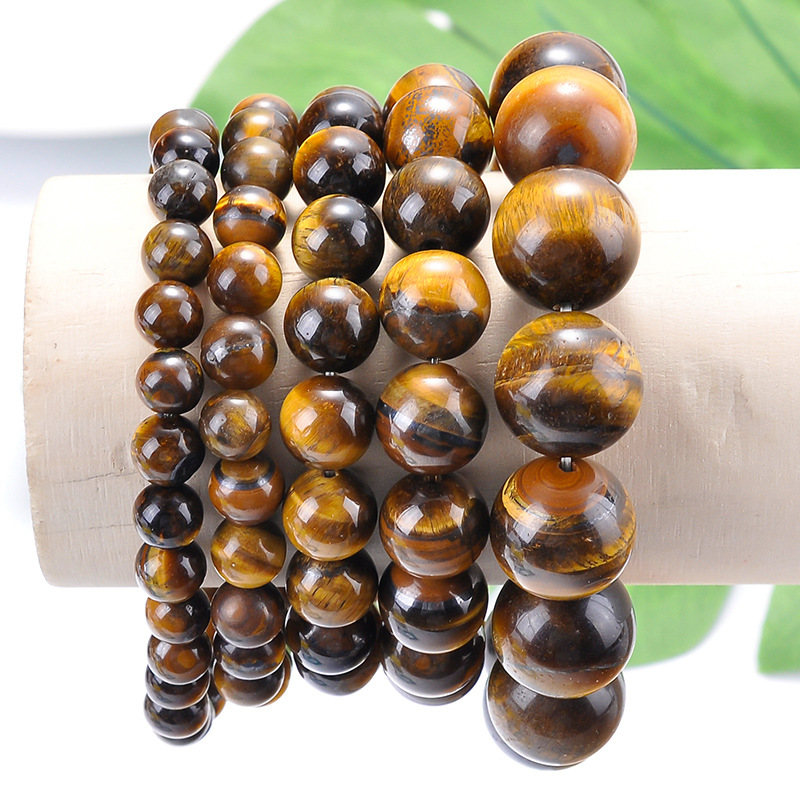 6/8/10/12/14mm Simple Punk Round Ball Beaded Bracelets Natural Real Tiger Eye Stone Wristband Prayer Mala Bracelets Women Male Bracelets & Bangles Strand Bracelets