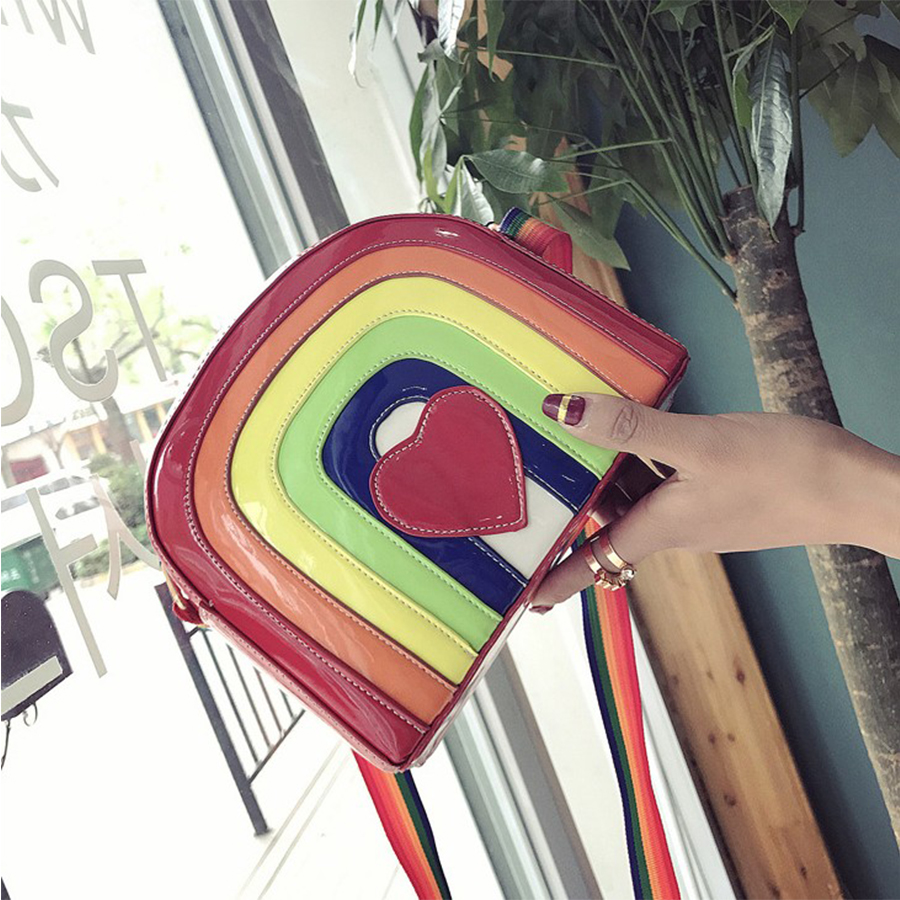 Rainbow Jelly Bags Women Cartoon Heart Summer Beach Bags Candy Color Women Messenger Bag Luxury PU Leather Females Handbags New