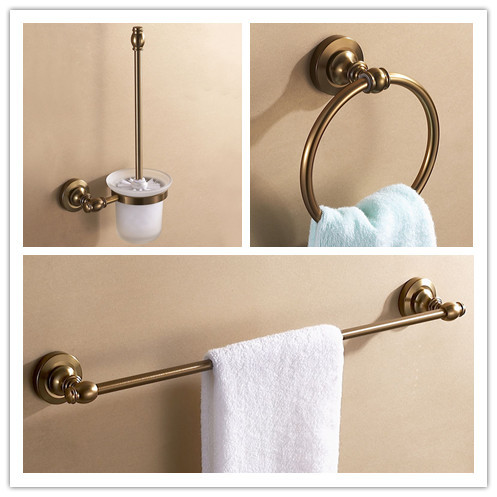 Aluminum antique brush holder+towel ring+single towel rack bar bathroom hardware set bathroom accessories fully copper bathroom towel ring holder silver
