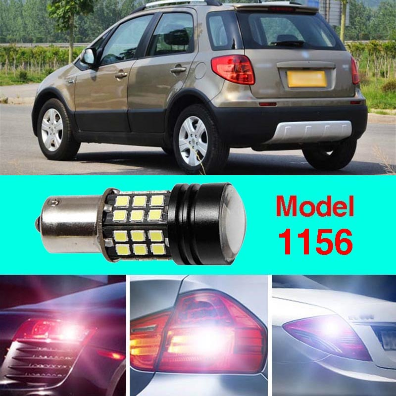 Error Free 1156 Socket 360 Degrees Projector Lens LED Backup Reverse light R5 Chips Replacement Bulb For Suzuki SX4 ruiandsion 2x75w 900lm 15smd xbd chips red error free 1156 ba15s p21w led backup revers light canbus 12 24vdc