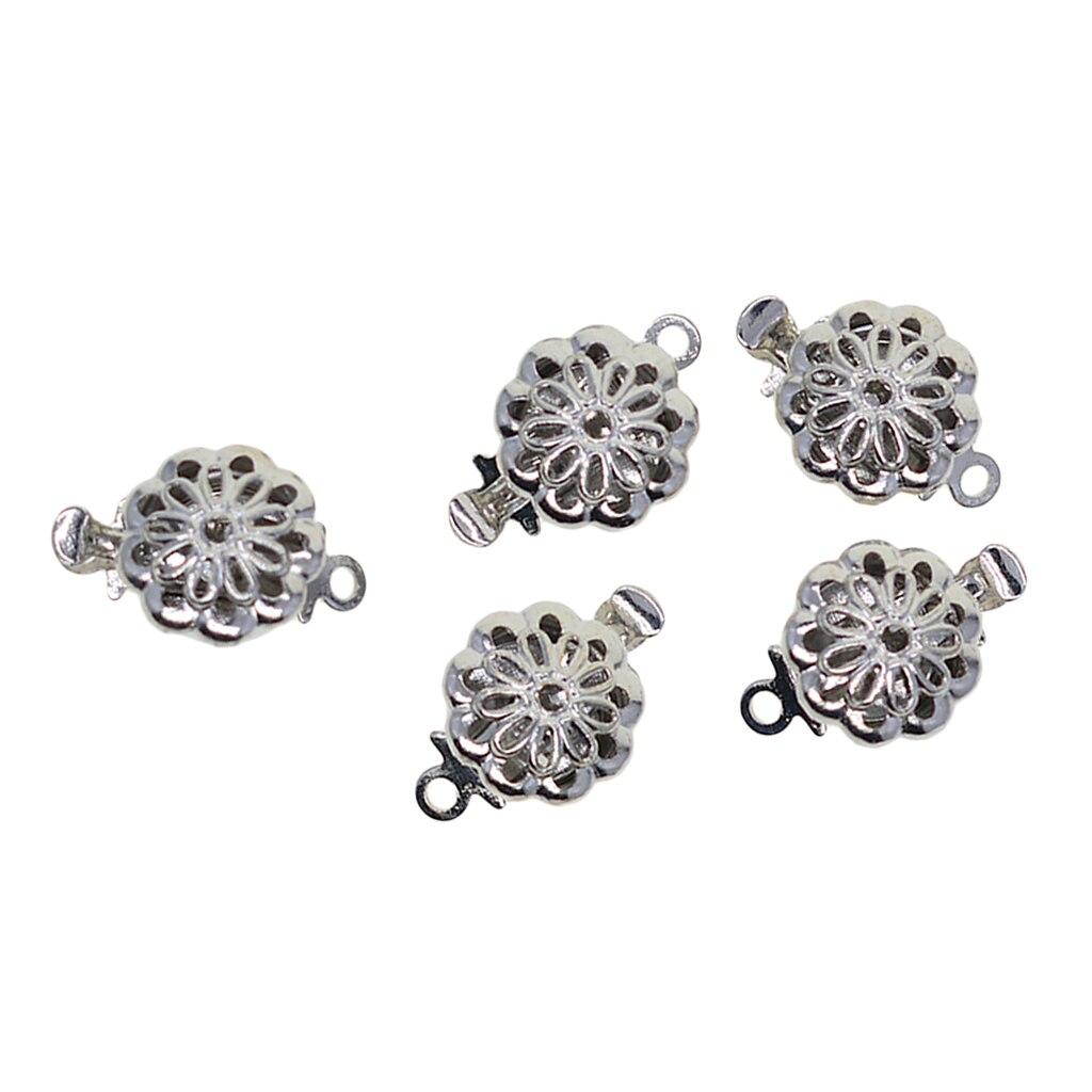 5 pçs duplo lado filigrana flor push-in caixa fechos conectores de jóias diy pulseira termina fechos fazendo descobertas