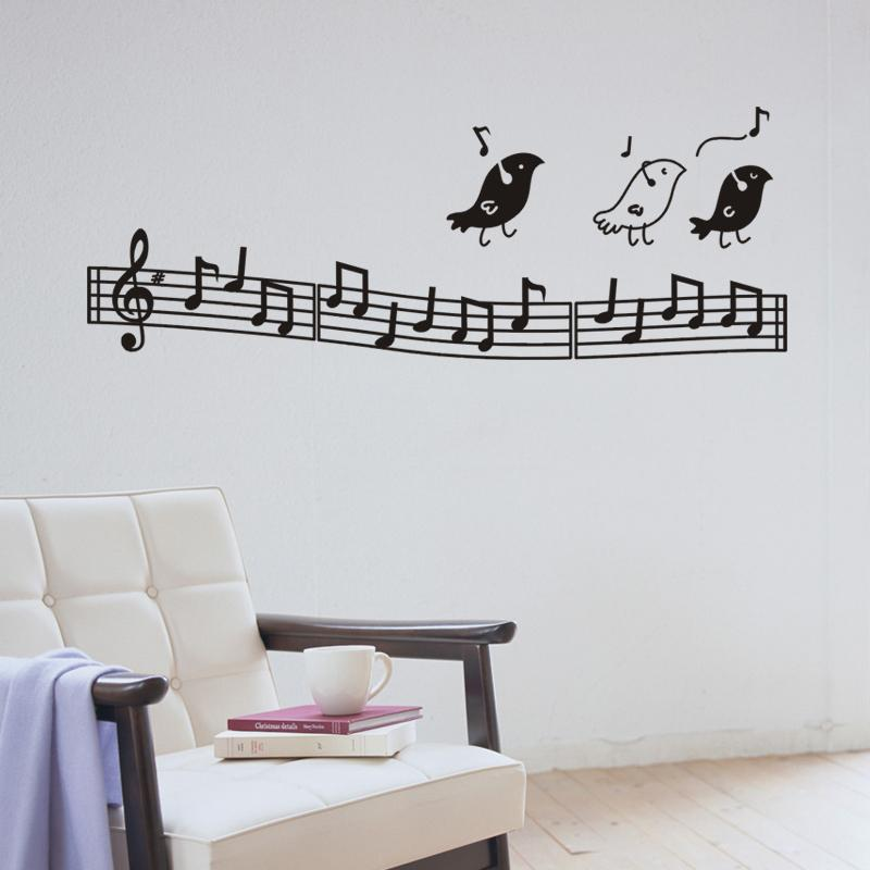 Wall Music Art Birds Decor Notes Decoration Kids Bedroom Musical Notation Removable Decals School Stickers In From Home