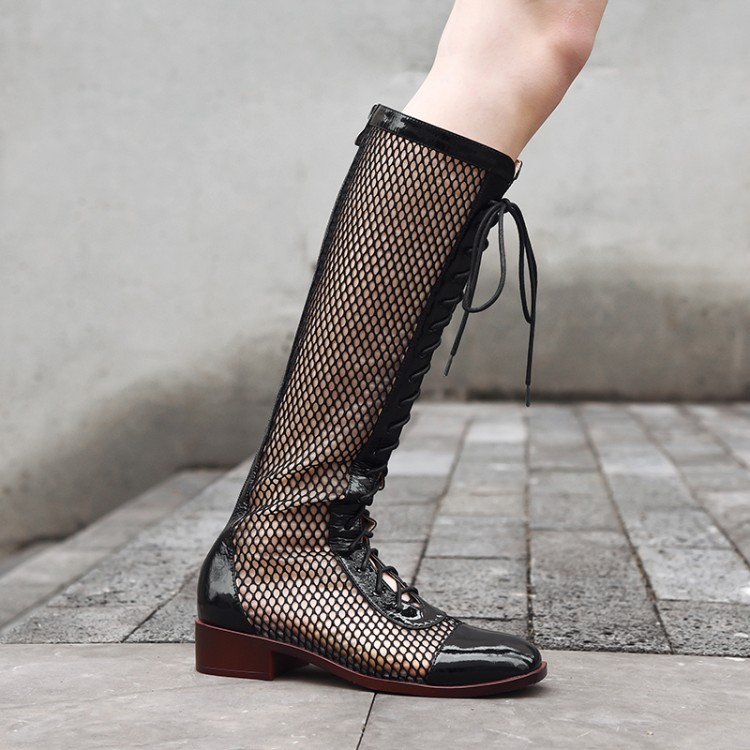 mesh boots summer women Knee high boots Genuine Leather hollow out low heel Rome sandals Cool boots breathable women's shoes