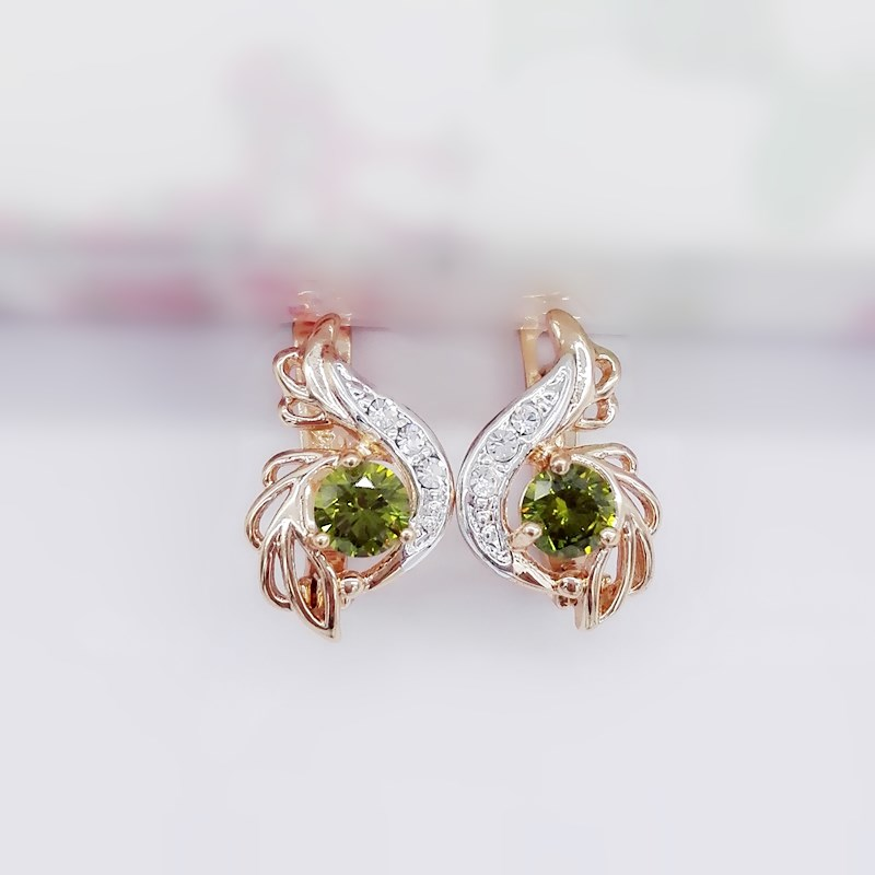1 Pair 2018 New Fashion 585 Rose Gold Color Jewelry Round Green Cubic Zircon Flower Shape Women Gold Silver Color Drop Earrings pair of retro style tai ji color block drop earrings for women