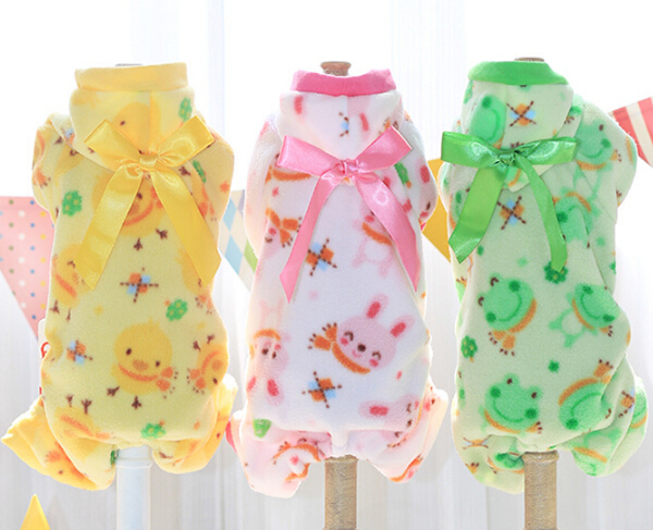 1pcs pet dog cat cute cartoon Pajamas clothes doggy fashion jumpsuits costume puppy hoodies clothing dogs cats winter suit