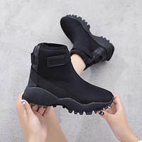 Women's Platform Sneakers 2018 Autumn Winter Casual Sock Boots Black Ankle Boots For Women Shoes Fashion Hook & Loop Woman Boot