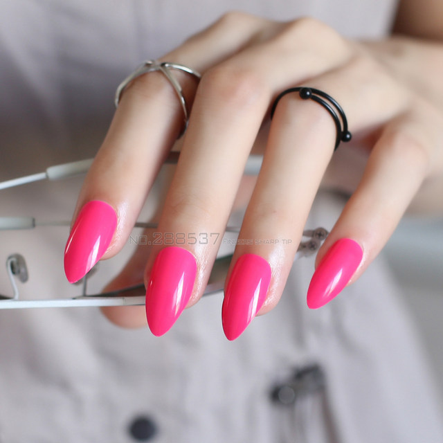 New rose Red full cover Fake short stiletto nails Deep Red 24pcs mountain  peak Designs Comfortable Pure colour False nails JD13 - Online Shop New Rose Red Full Cover Fake Short Stiletto Nails Deep