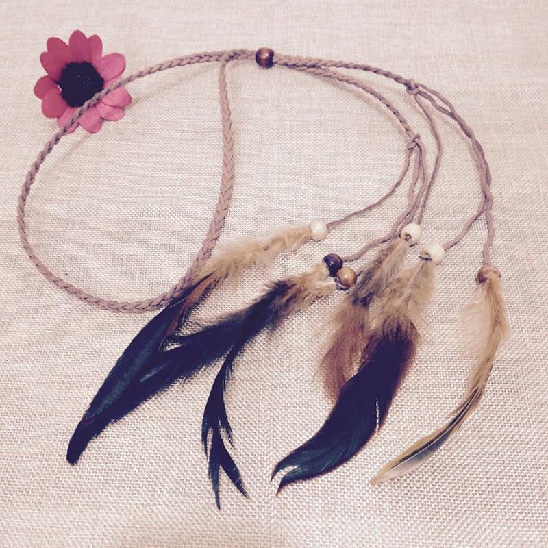 Bohemian Style Women Ladies Retro Headwear Feather Beads Weave Hairbands Headbands Hair Bands Headwear FS0639