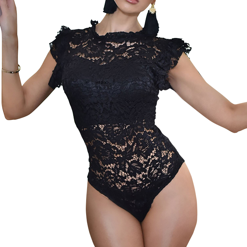 Feminino Ruffles Short Sleeve Lace Body Suits Tops Women Hollow Out Sexy Erotic Romper Overalls Skinny Club Party Bodysuit GV233