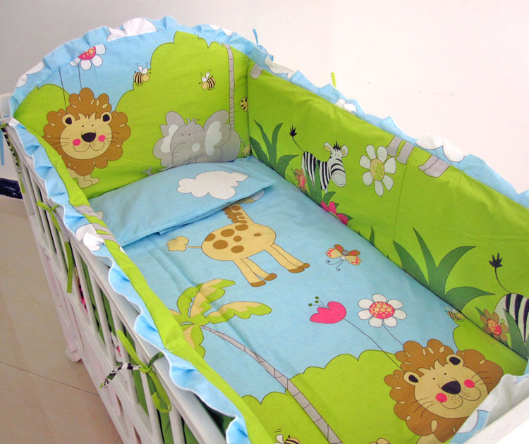 Promotion! 6PCS Forest baby bedding set cotton baby bedding curtain crib bedding set baby cot sets (bumper+sheet+pillow cover) promotion 6pcs baby bedding set cot crib bedding set baby bed baby cot sets include 4bumpers sheet pillow