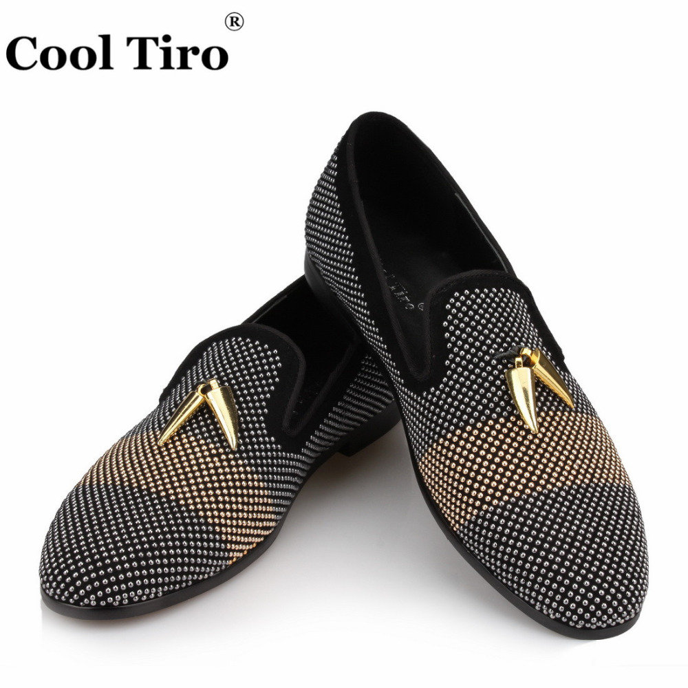 Gun Strass Loafers Men Moccasins Shark teeth Tassel SmokingSlippers Party and Wedding Dress Shoes Casual Flats