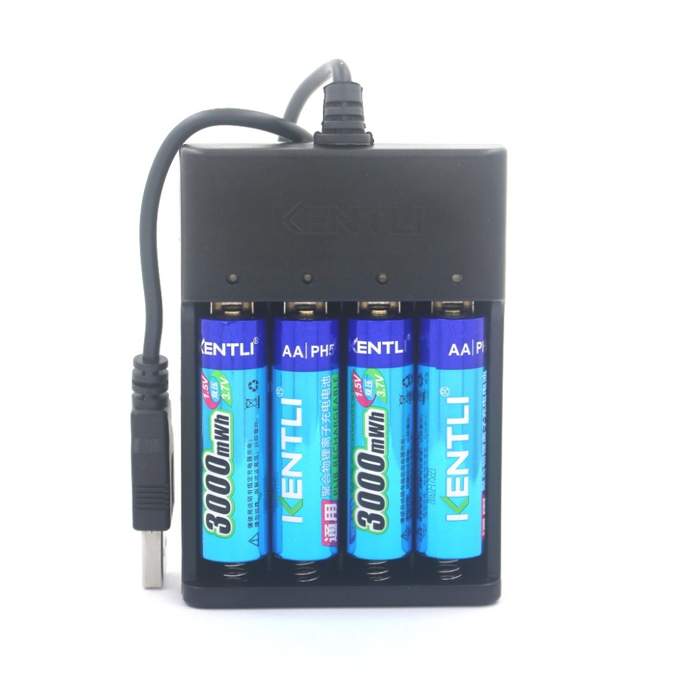 4pcs KENTLI 1.5v AA PH5 3000mWh PLIB Rechargeable Li-ion Li-polymer Lithium battery + 4 slots USB smart Charger CHU4 02 champagne