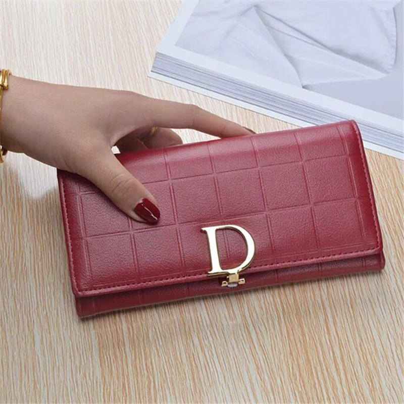 Fashion Women Leather Purse Plaid Wallets Long Ladies Colorful Wallet Red Clutch 10 Card Holder Coin Bag Female Double Zipper Wa