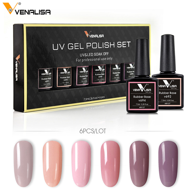 Venalisa 6 Color 7.5ml Nail Art Design Soak off UV Camouflage Color Rubber Base Coat Nail Polish Gel Lacquer Varnishes Gel Kits цена 2017