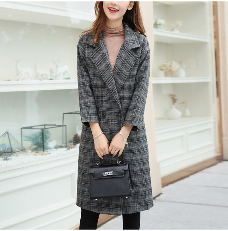 Winter Check Velvet Coat Female Notched Warm checkered Woolen Women's Coats Fleece Office Lady 19 Vintage Long Overcoat Woman 9