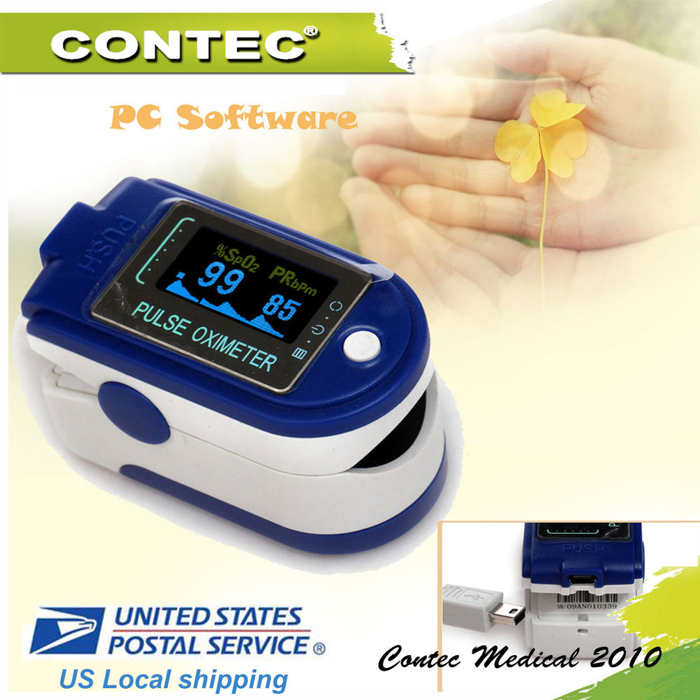 US shipping FDA Fingertip Pulse Oximeter SPO2 USB Software OLED Display CMS50D+ 24 Hours Record Pulse Rate Alarm Monitor
