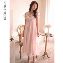 Vintage Sleep Lounge Butterfly Sleeve Laced Ruffle Night Dress Summer Autumn Sleepwear Cotton Organza Loose Long