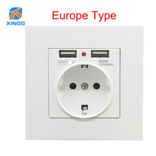 Minitiger Dual USB Socket Power Outlet Socket With EU Plug 2A 3500W Wall Charger Adapter Electric Wall Socket Charging USB цена в Москве и Питере