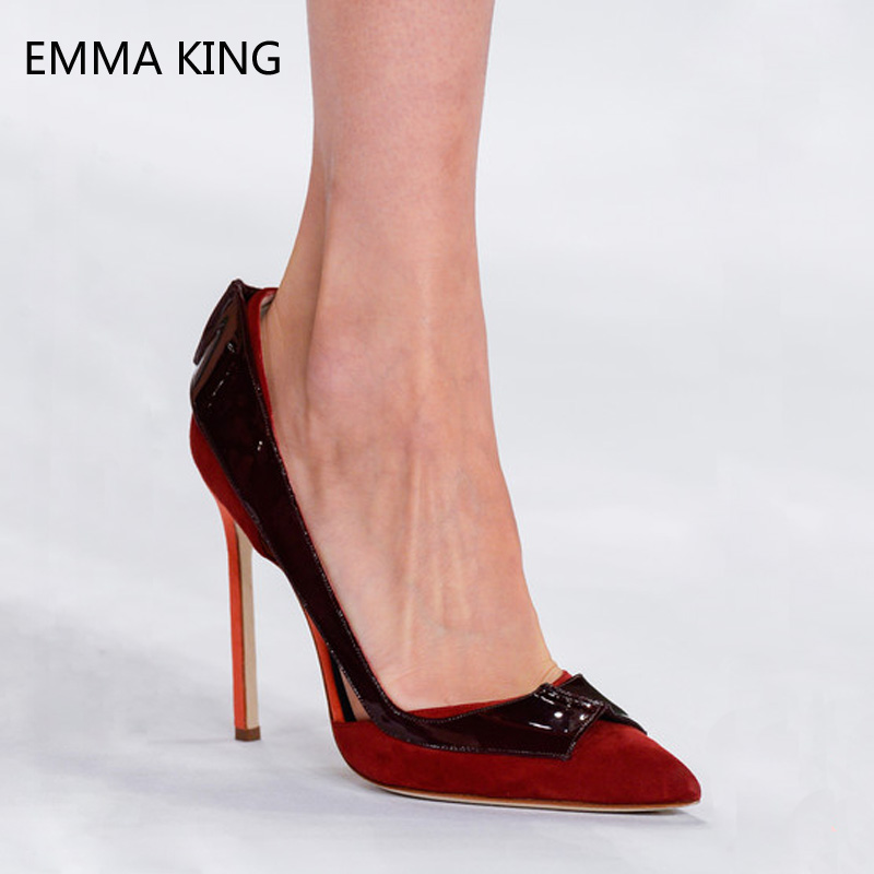 New Women Stiletto High Heel Pumps Flock & PU Cut Out Pointed Toe Fashion Runway Party Shoes For Ladies Summer Heels FemaleNew Women Stiletto High Heel Pumps Flock & PU Cut Out Pointed Toe Fashion Runway Party Shoes For Ladies Summer Heels Female