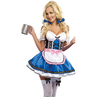 New Stylish Sexy Beer Girl Fancy Dress 4 Pieces Set Blue Germany Oktoberfest Costume for Women Halloween Beer Maid Dress A327095