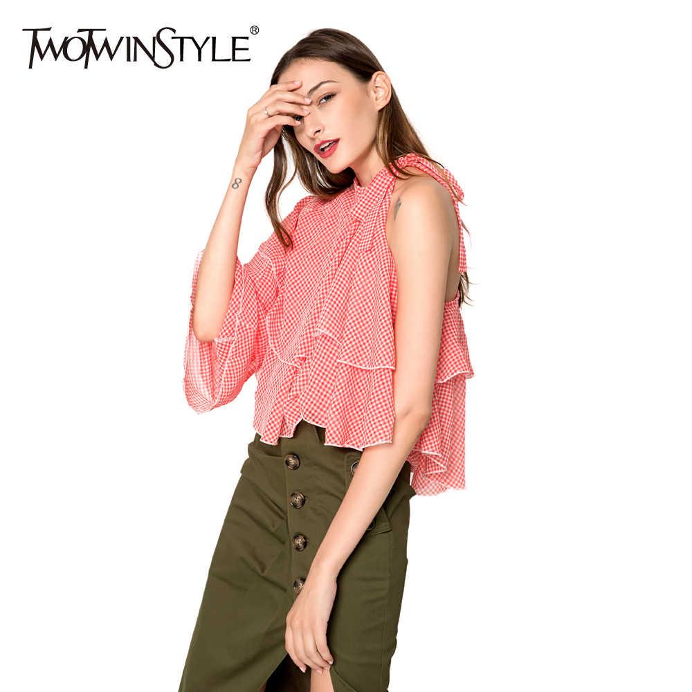 TWOTWINSTYLE Xadrez Chiffon Blusa Camisa das Mulheres Lace up Fora Do Ombro Ruffles Sexy Tops Feminino Roupas Casuais 2019 Moda Verão