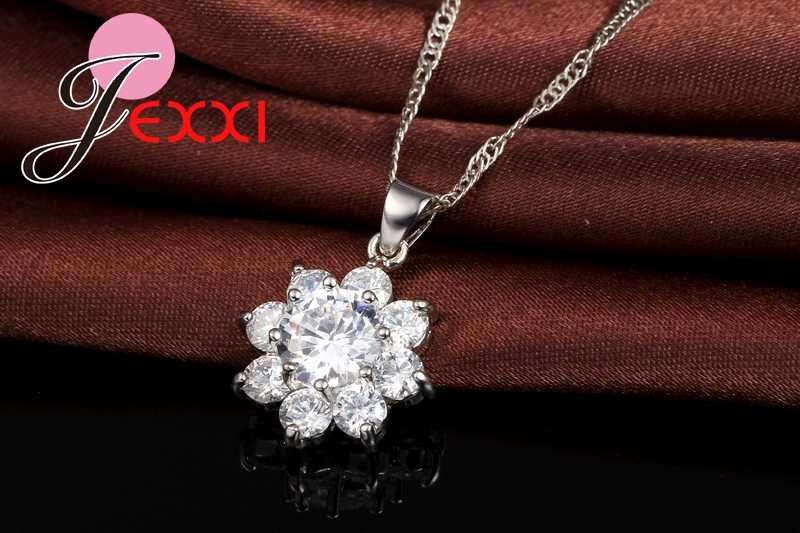 Top Qualtiy Romantische 925 Sterling Silber Kristall Schneeflocke Hochzeit Schmuck Sets Blume Halskette Ohrringe für Frauen Braut