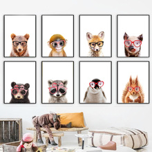 Glasses Monkey Raccoon Fox Bear Deer Lion Wall Art Canvas Painting Nordic Posters And Prints Pictures Baby Kids Room Decor