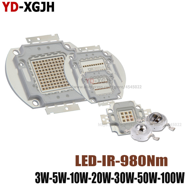 IR 970-980nm High Power LED Chip 3 W 5 W 10 W 20 W 30 W 50 W 100 W infrarood 970nm Emitter Lamp Licht Kraal COB 3 5 10 20 30 50 100 Watt