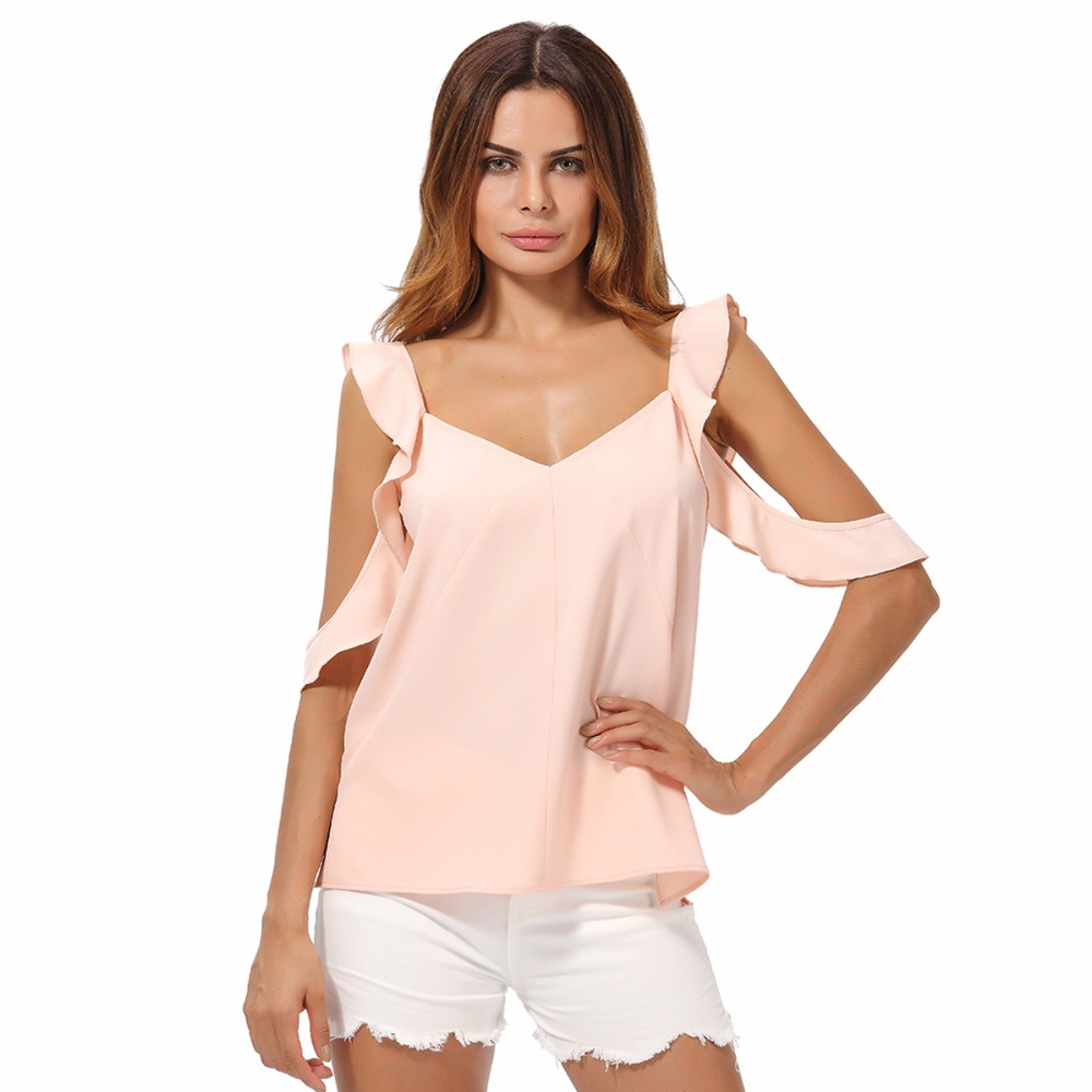 Buy OZME Ruffle Shirt Tops Summer Womens Chiffon Blouse Casual