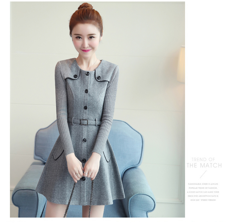 winter new round collar single-breasted cloth dress belt buttons A word women dresses Korean fashion outfit lady vogue vestido 31