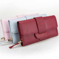 Multi Choice Woman S Handbag Women Leather Wallet Hasp Long Wallet Lichee Pattern Pure Color Wallet