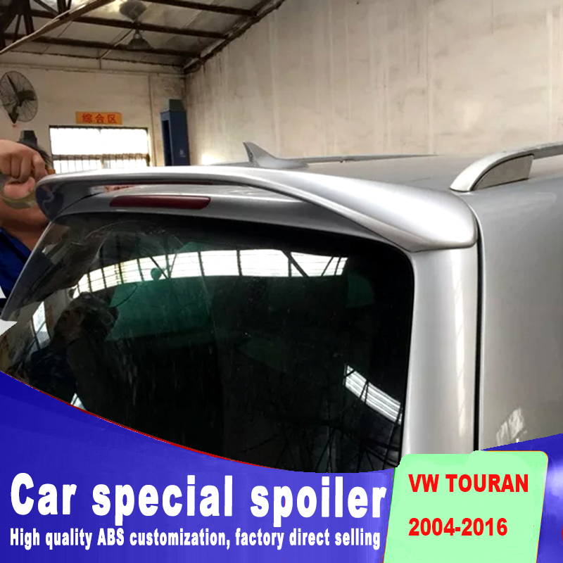 rear window roof big wings spoiler for Volkswagen touran high quality ABS primer paint for VW touran spoiler 2004 to 2016 in Spoilers Wings from Automobiles Motorcycles