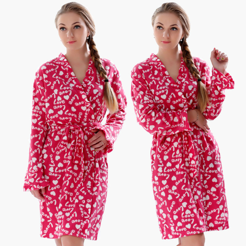 Ladies Plus Size Soft Microfiber Fleece Red Robe Love Lingerie Dressing Gown Kimono Sleepwear Bathrobe For Women