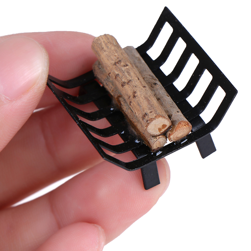 Best Sale 1/12 Dollhouse Furniture Metal Rack With Firewood For Living Room Fireplace Model