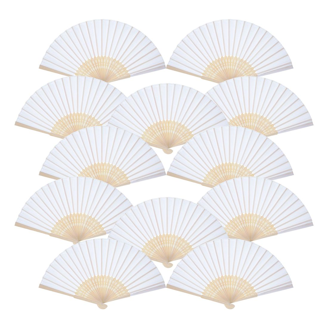 12 Pack Hand Held Fans White Paper fan Bamboo Folding Fans Handheld ...