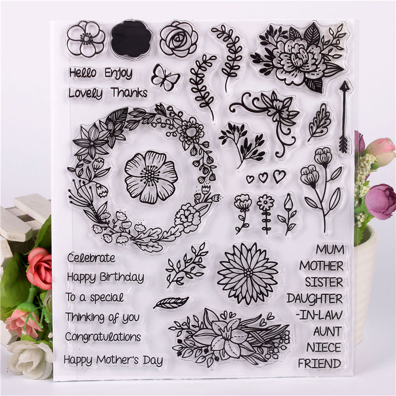 Rubber Silicone Clear Stamps for Scrapbooking Tampons Transparents Seal Background Stamp Card Making Diy flower Text stempel цена и фото