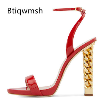 2019 Sexy Gladiator Sandals Women Open Toe Ankle Strap Red Leather Gold Metal Chain Strange High Heel Shoes Woman Wedding Shoes
