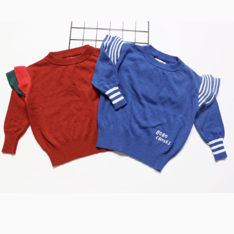 2017 New Autumn Bobo Chosee Sweaters  For Kids Girls Pullover Fille Kid Knitwear Boys Sweaters Fly Sleeve Cotton Cicishop A* мягкая игрушка promise a nw113501 bobo 35cm