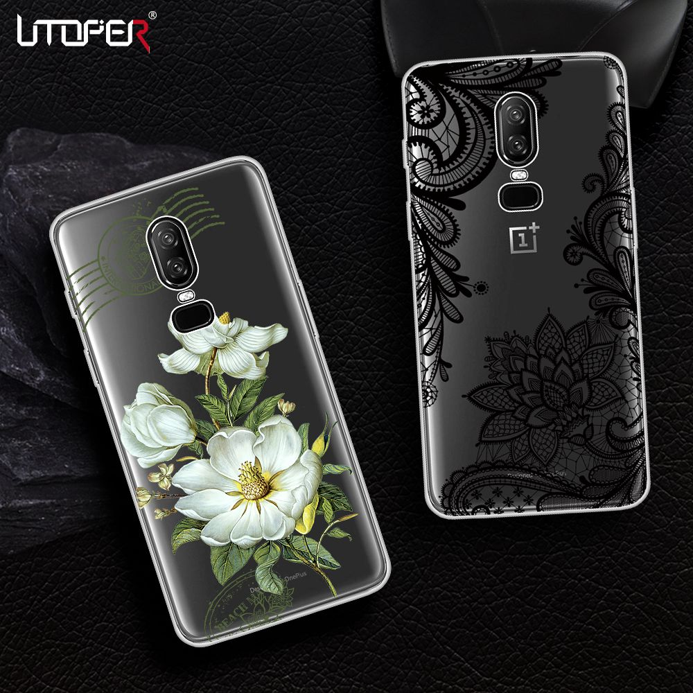 UTOPER Flower Phone Cases For OnePlus 6 Case Transparent Cover For One Plus 5T Case For OnePlus 5 T Coque For OnePlus 5 A5010