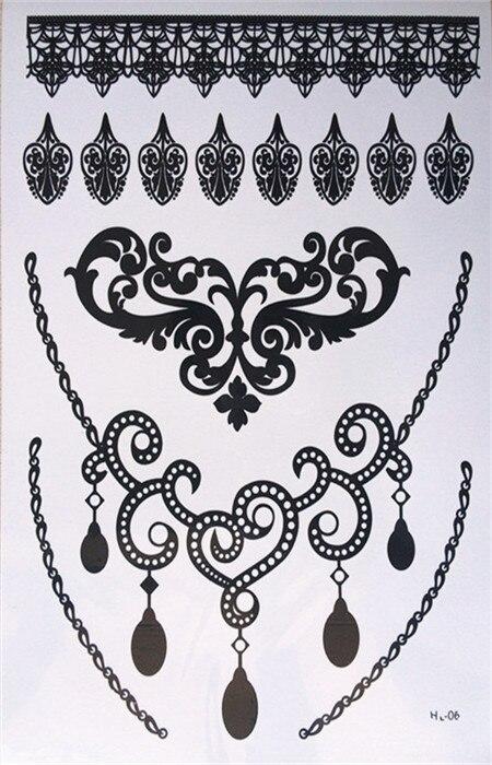 Henna Lace Bracelet Temporary Tattoo Sticker: Free Shipping Waterproof Sexy Black Lace Temporary Tattoos