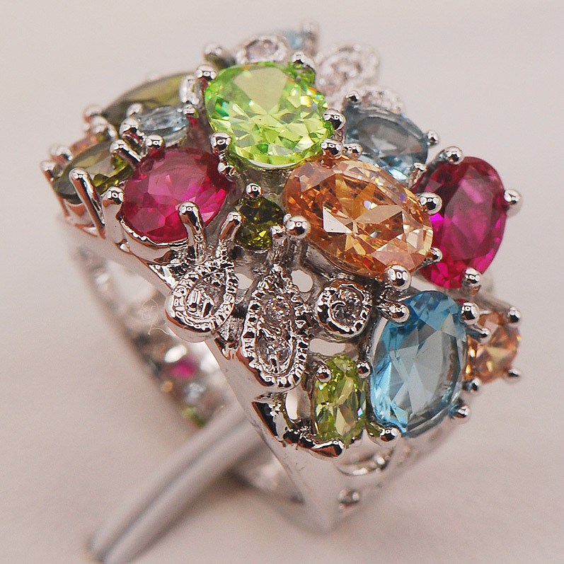 Red Crystal Zircon Morganite Peridot 925 Sterling Silver Ring Size 6 7 8 9 10 F663