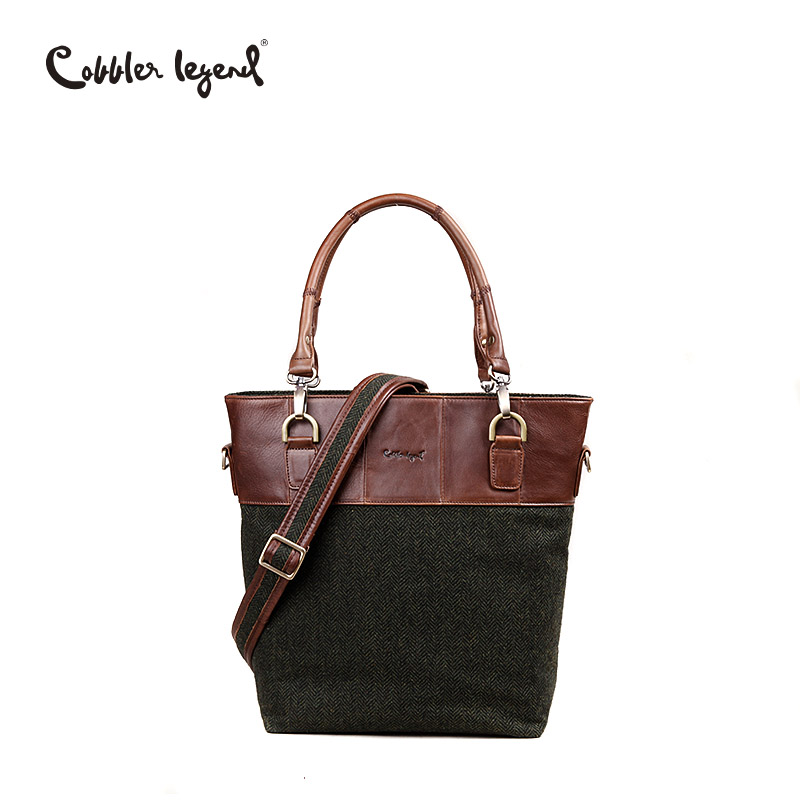 Cobbler Legend Green Stripe Genuine Leather & Blended Fabric Tote Bag Brand Handbag Women Bag Female Shoulder Bags England Style цена