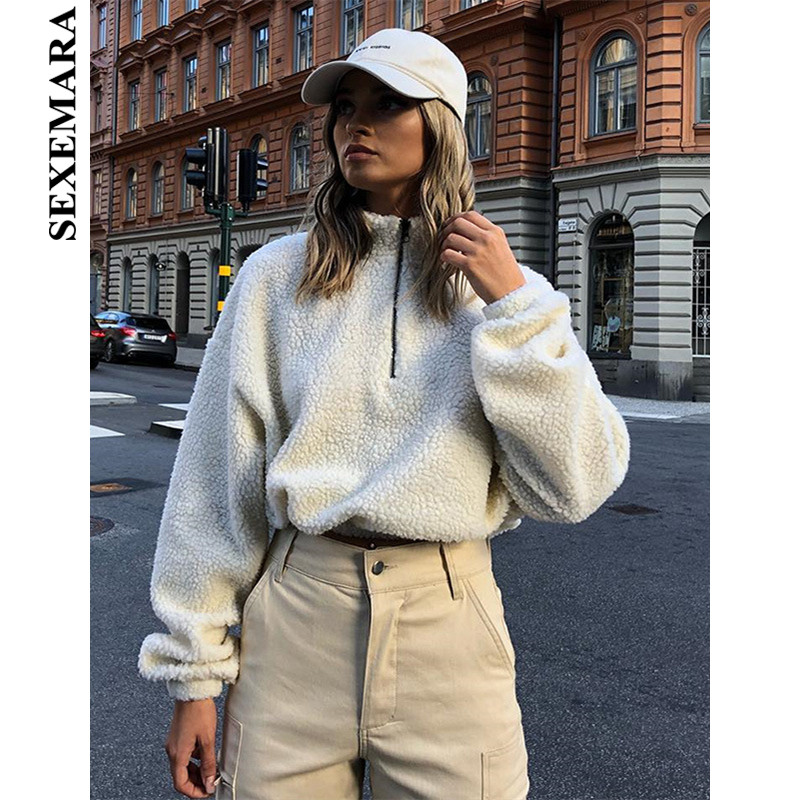 BOOFEENAA White Loose Lamb Wool Woman Coats Fall Winter 2019 Zipper Long Sleeve Fuzzy Female Coat Pullover Streetwear C70-AB95